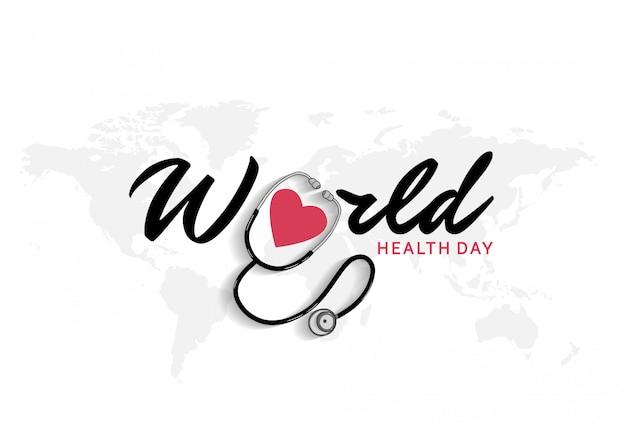 Manifesto di giornata mondiale della salute con stetoscopio e icona cuore rosso Vettore Premium