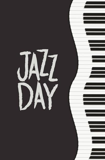 Manifesto di giorno di jazz con tastiera di pianoforte Vettore Premium