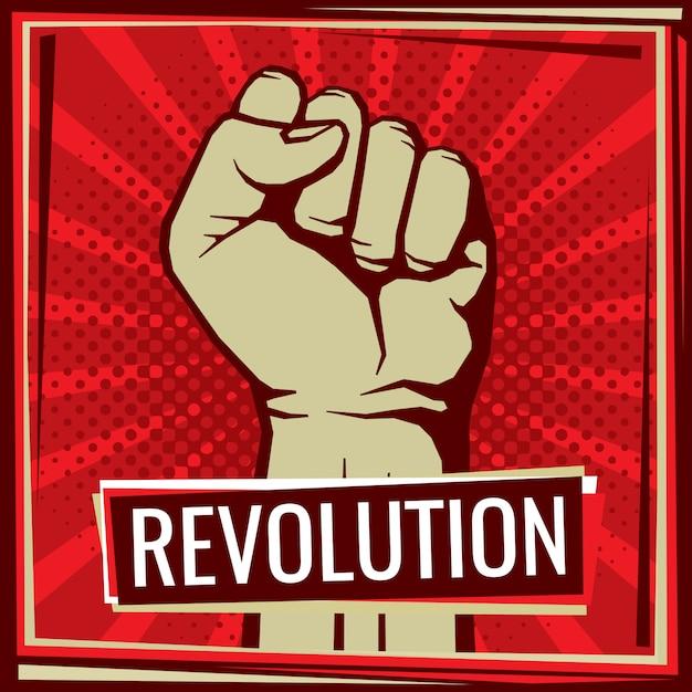 Manifesto di lotta di rivoluzione con il pugno della mano dell'operaio sollevato Vettore Premium