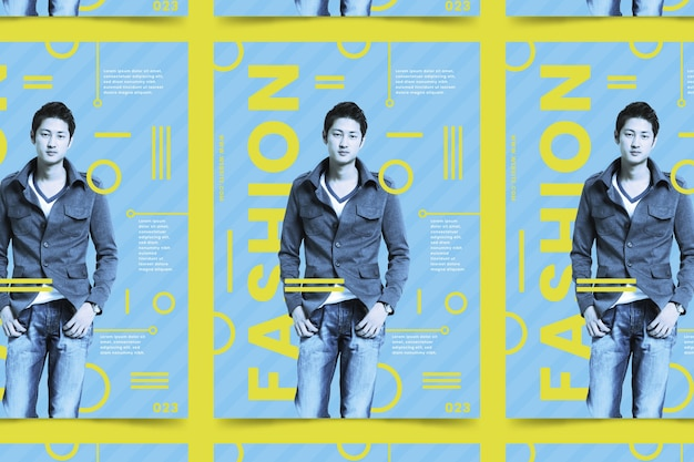 Manifesto di moda colorato con foto Vettore gratuito