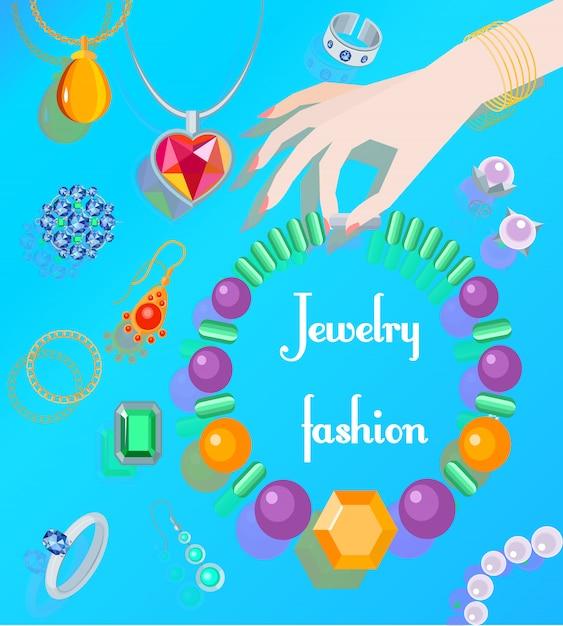 Manifesto di moda dei monili con la collana della holding della mano della donna Vettore Premium