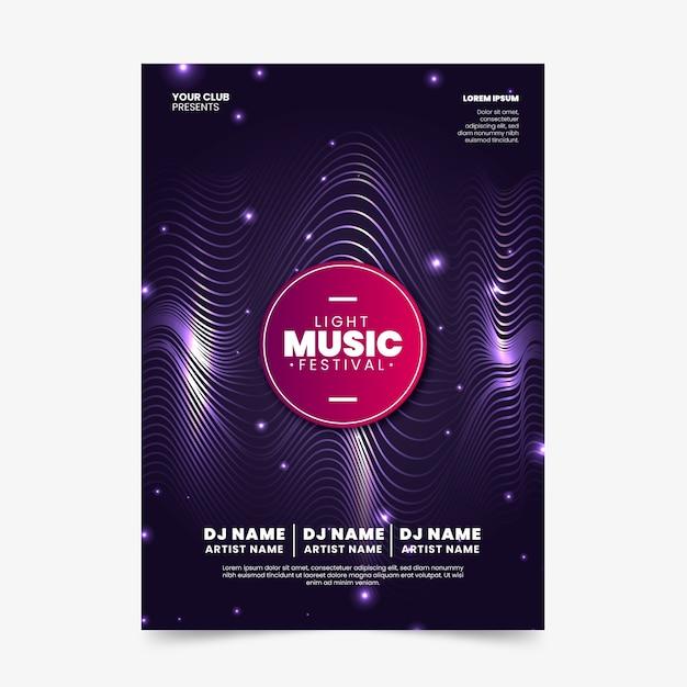 Manifesto di musica astratta di soundwaves Vettore gratuito