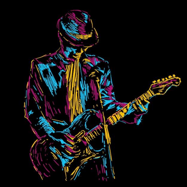 Manifesto di musica dell'illustrazione astratta di vettore del giocatore di chitarra Vettore Premium