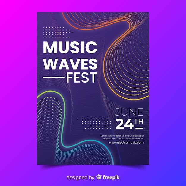 Manifesto di musica di onde astratte modello Vettore gratuito