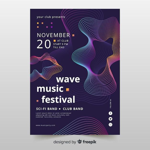 Manifesto di musica di onde con forme astratte Vettore gratuito