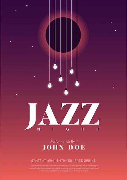 Manifesto di musica jazz di notte con corde e lampadine di chitarra Vettore Premium