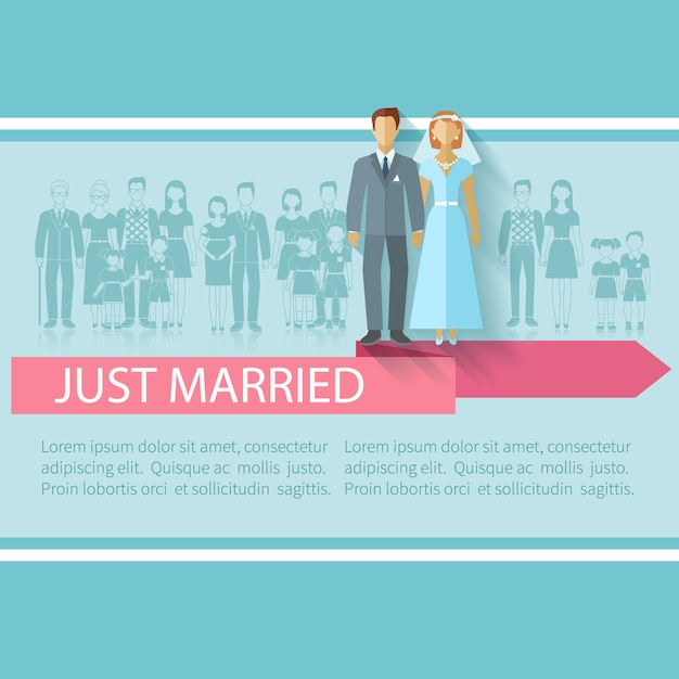 Manifesto di nozze con appena coppia di sposi e famiglia estesa ospiti piatto illustrazione vettoriale Vettore gratuito