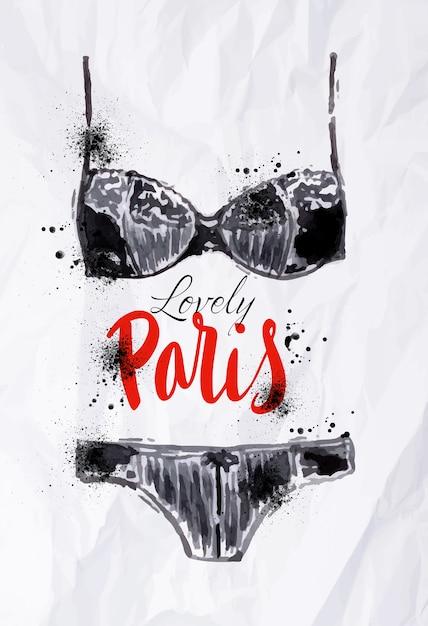 Manifesto di parigi con acquerello lingerie nera Vettore Premium