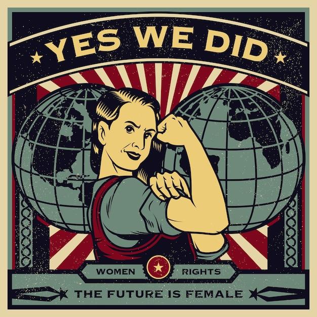 Manifesto di propaganda d'epoca ed elementi di potere femminile, diritti delle donne, protesta e femminismo Vettore Premium