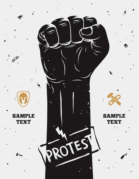 Manifesto di protesta, pugno alzato tenuto in segno di protesta. Vettore Premium