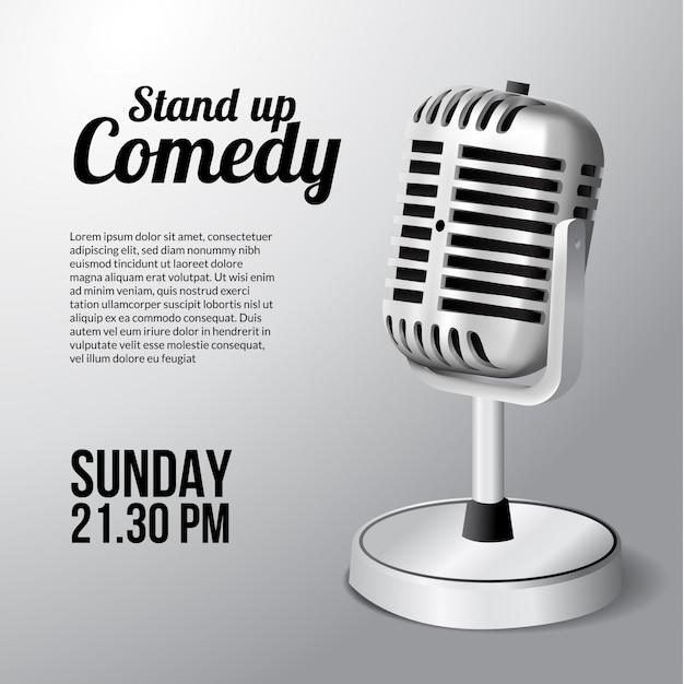 Manifesto di spettacolo teatrale in piedi microfono vintage per evento. Vettore Premium