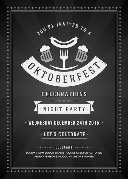 Manifesto di tipografia del partito di celebrazione di festival della birra di oktoberfest retro Vettore Premium