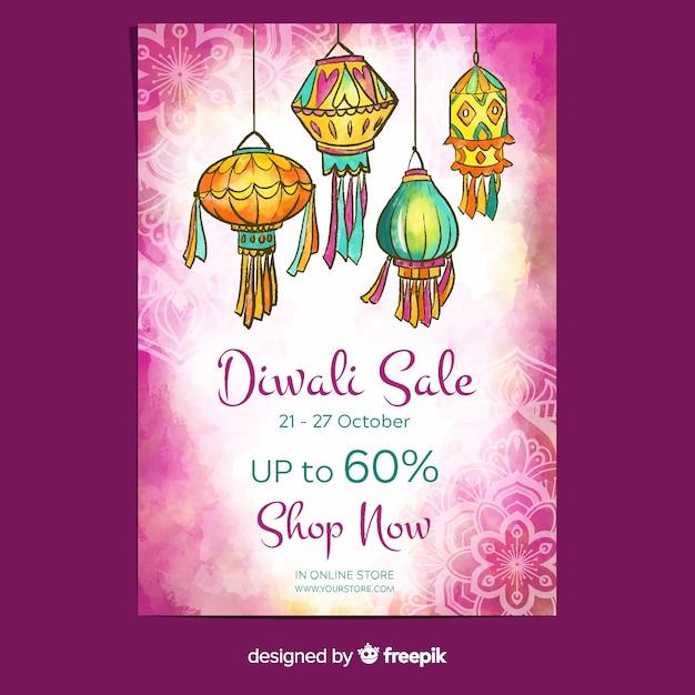 Manifesto di vendita di diwali con acquerello Vettore gratuito