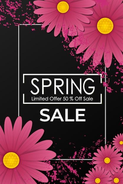 Manifesto di vendita di primavera con bellissimi fiori viola Vettore Premium