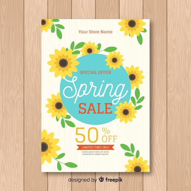 Manifesto di vendita di primavera di girasole Vettore gratuito