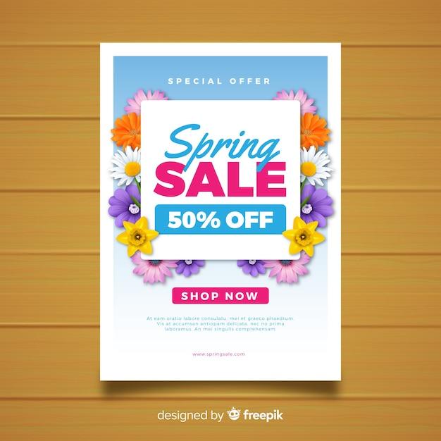 Manifesto di vendita primavera floreale realistico Vettore gratuito