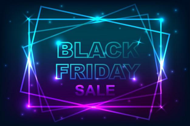 Manifesto di vendita venerdì nero con sfondo di banner al neon. Vettore Premium