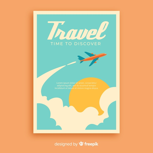 Manifesto di viaggio promozionale vintage piatto Vettore gratuito