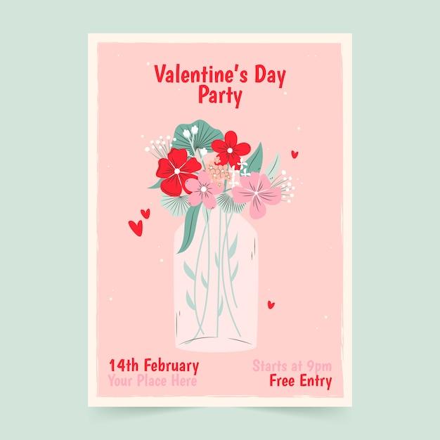 Manifesto disegnato a mano per modello di festa di san valentino Vettore gratuito