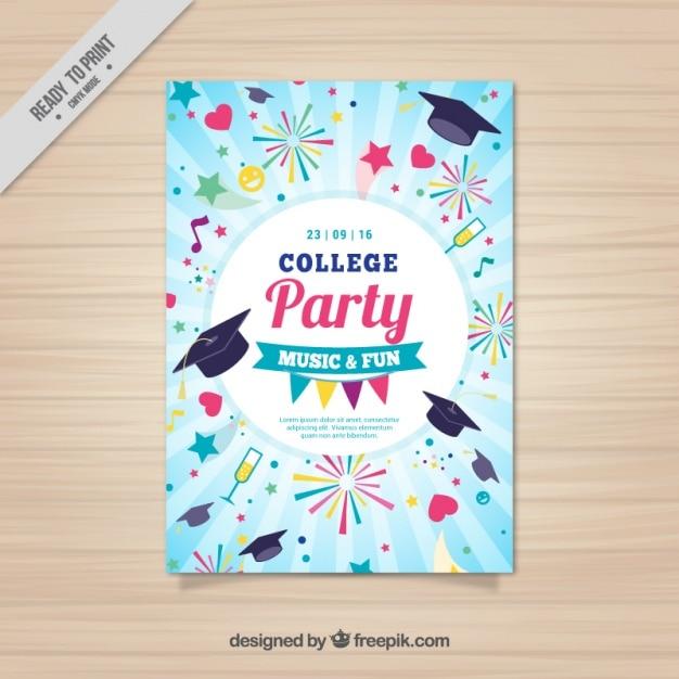 Manifesto divertente per la festa del college Vettore gratuito