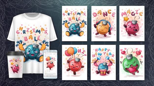 Manifesto e merchandising della palla di buon natale Vettore Premium