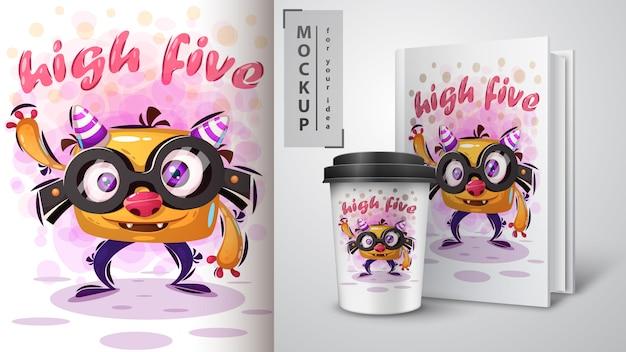 Manifesto e merchandising di mostri carini Vettore Premium