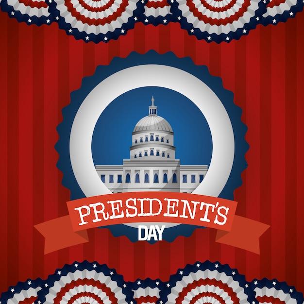 Manifesto felice di giorno di presidenti con la casa bianca Vettore Premium