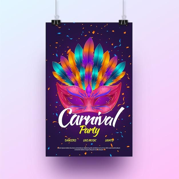 Manifesto festa di carnevale realistico Vettore gratuito