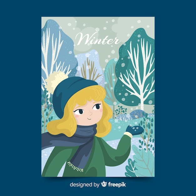 Manifesto illustrato stagione invernale Vettore gratuito