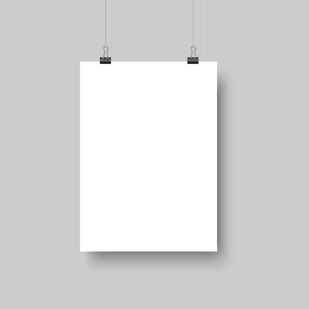 Manifesto in bianco bianco che appende con le ombre Vettore Premium