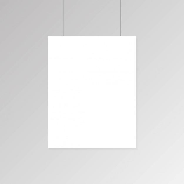 Manifesto in bianco realistico del libro bianco che appende sulla parete Vettore Premium