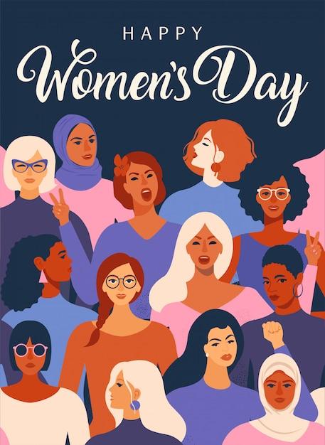Manifesto internazionale della giornata della donna. Vettore Premium