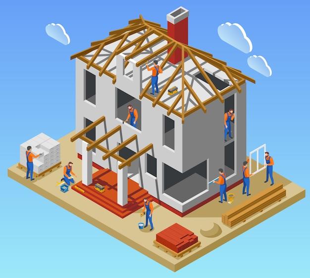 Manifesto isometrico di fasi della costruzione della camera con il gruppo di lavoratori che lavorano nell'illustrazione non finita di vettore della costruzione Vettore gratuito