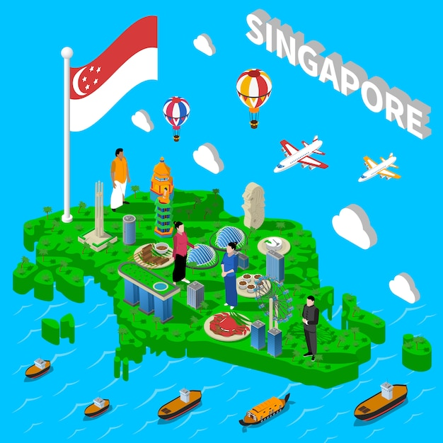 Manifesto isometrico di simboli turistici mappa di singapore Vettore gratuito