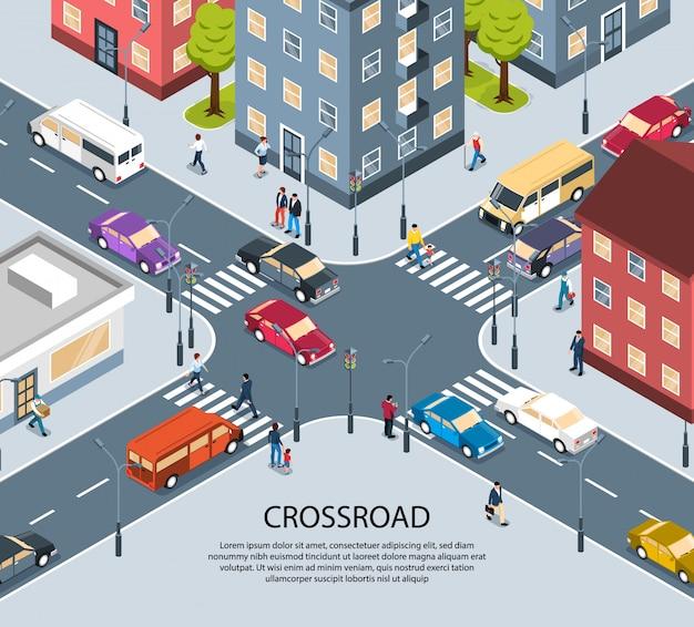 Manifesto isometrico di vista dell'incrocio dell'incrocio a quattro vie della città della città con il passaggio pedonale pedonale dei semafori Vettore gratuito
