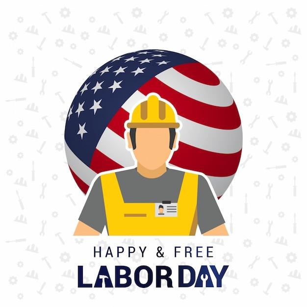 Manifesto lavoratore con la tipografia labor day ty day Vettore gratuito