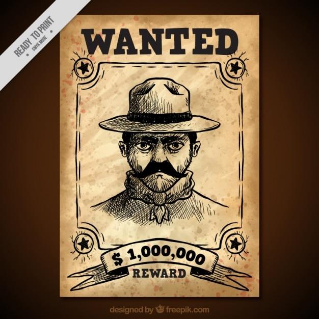 Manifesto occidentale con schizzo di delinquente Vettore gratuito