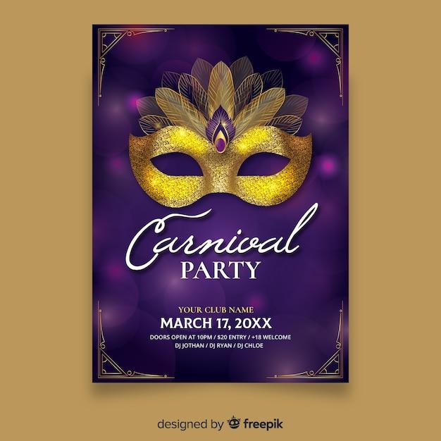 Manifesto partito di carnevale maschera dorata Vettore gratuito