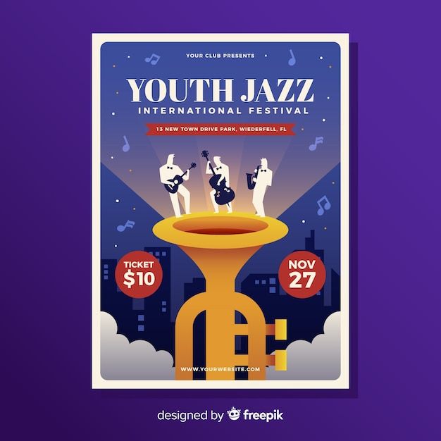 Manifesto piatto festival di musica jazz Vettore gratuito