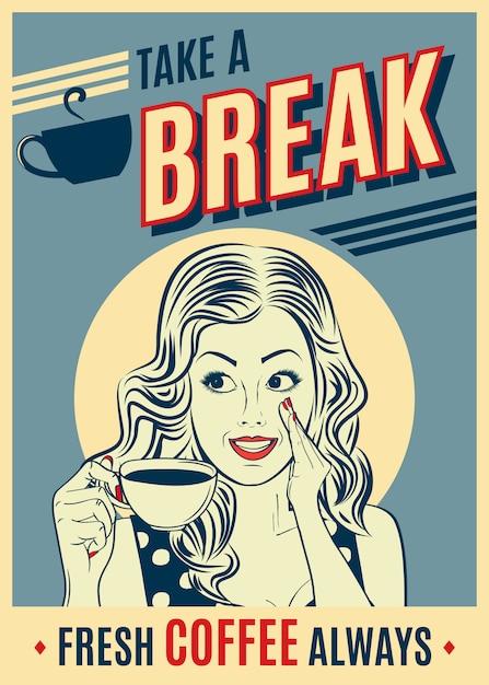 Manifesto pubblicitario caffè retrò con donna pop art. Vettore Premium