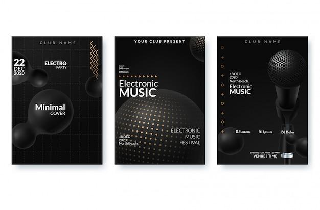 Manifesto pubblicitario del festival di musica elettronica. Vettore Premium