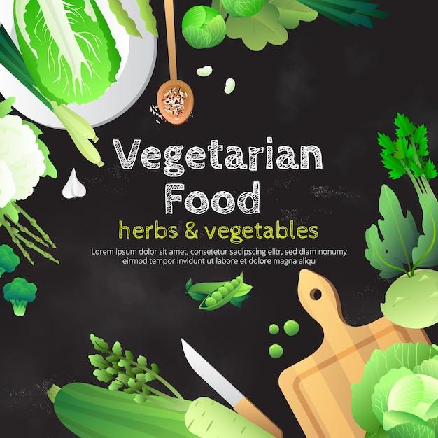 Manifesto pubblicitario della lavagna dell'alimento vegetariano Vettore gratuito
