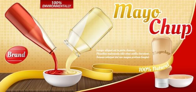 Manifesto pubblicitario realistico 3d con bottiglia di plastica con salsa mayochup e cottura di esso. Vettore gratuito