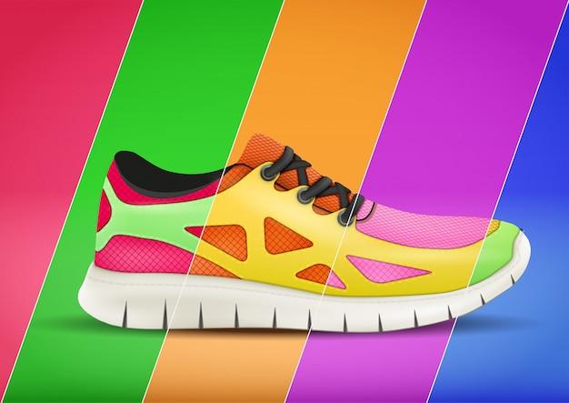 Manifesto pubblicitario sportivo in colori di tendenza Vettore Premium