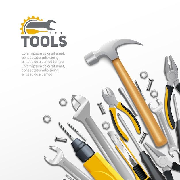 Manifesto realistico del fondo della composizione degli strumenti di rinnovamento della costruzione e della costruzione di carpenteria Vettore gratuito