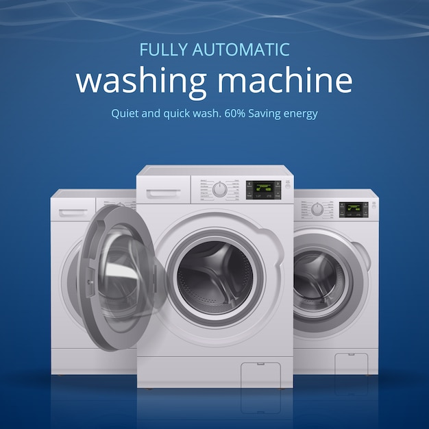 Manifesto realistico della lavatrice con l'illustrazione di simboli di lavaggio rapido e calmo Vettore gratuito