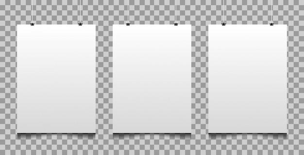Manifesto realistico di mockup con sfondo trasparente Vettore Premium