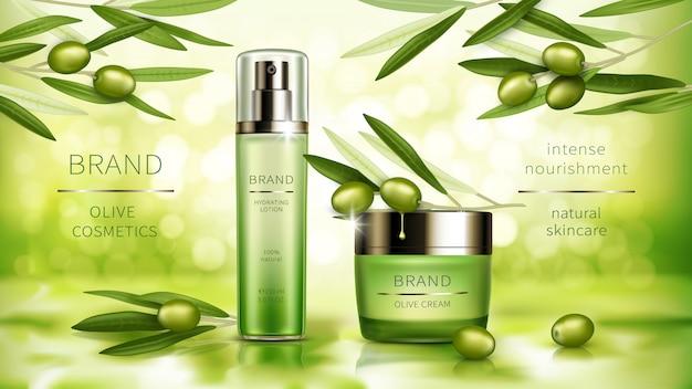 Manifesto realistico di vettore di cosmetici di oliva Vettore gratuito