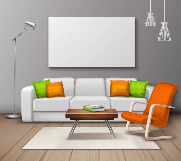 Manifesto realistico moderno di colori interni mockup Vettore gratuito