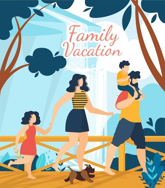 Manifesto tropicale dell'iscrizione del ricorso di vacanza di famiglia Vettore Premium